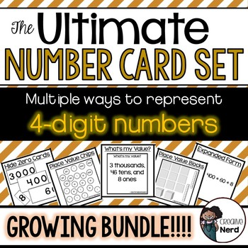 4-digit Number Cards - Print and Go cards for creative lesson plans