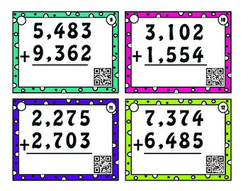 4 digit addition task cards with and without regrouping; with or w/o QR codes