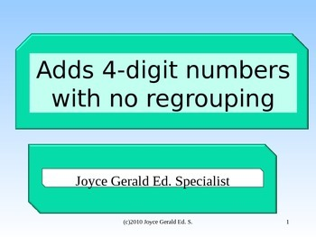 4 digit addition without regrouping
