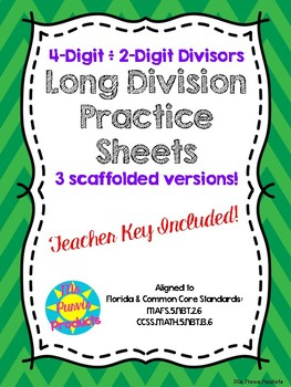 4-digit divided by 2-digit Scaffolded Long Division Fluency Worksheets