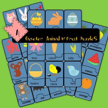 4 easter animal and fruit puzzles