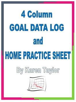 IEP Tracking SLP, 4 goal data log, IEP progress, Home practice, Homework, Excel