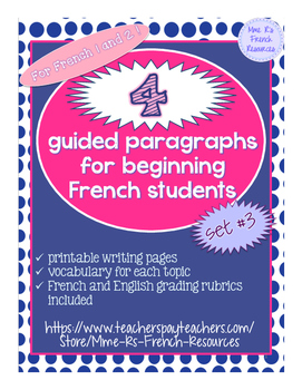 4 guided writings for beginning French, set 3