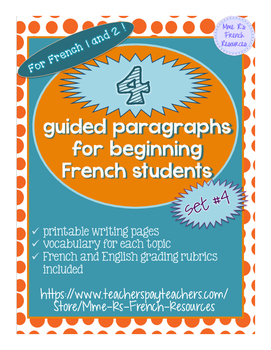 4 guided writings for beginning French, set 4