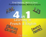 French and English, 4 books in 1, First Nations, Indigenous, Métis, Inuit