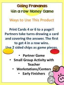 4 in a Row Counting Money Math Game