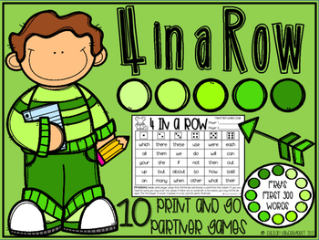 4 in a Row: Sight Word Edition {Print and Go Partner Games}
