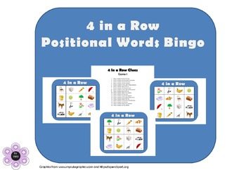 4 in a Row - Positional Words Bingo