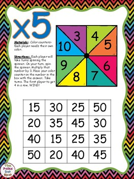 4 in a Row- Multiplication Facts Games
