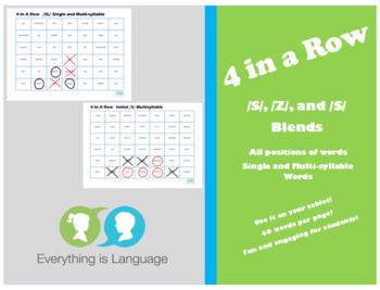 4 in a Row- /S/, /Z/, and /S/ Blends Speech Articulation Game
