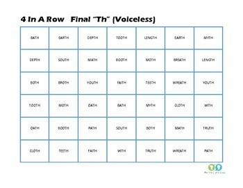 """4 in a Row- """"TH"""" (voiced and voiceless) Speech Articulation Game"""