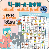 4-in-a-Row /k/ Initial, Medial, Final - Speech Therapy Activity/Game