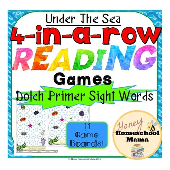 4-in-a-row Reading Games - Dolch Primer Sight Words with an Under the Sea Theme