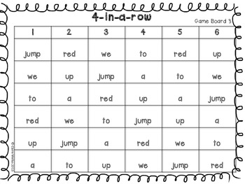 4-in-a-row pre-primer sight words {freebie}