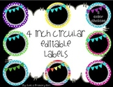 4 inch circular editable labels - polka dots, scallops w/
