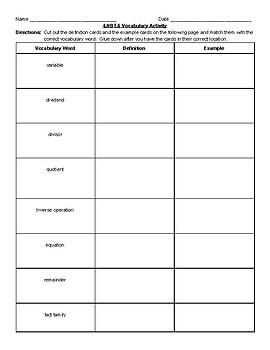 4.nbt.6 Vocabulary Cut & Paste (Long Division)