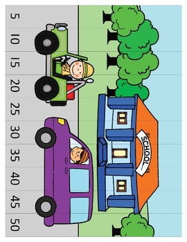 4 number puzzles for counting by ones, twos, fives and tens.