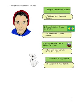 french stories one page each set of 4 with q/a for pair work