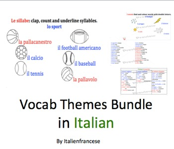 5 pack of theme vocabulary in Italian with updates for lif