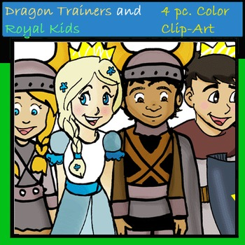 4 pc. COLOR Dragon Trainers and Royal Kids Clip-Art!