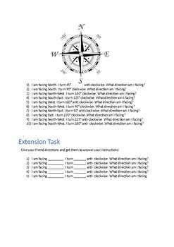 4-point compass and 8-point compass worksheet