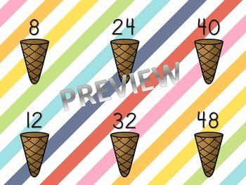 4's Multiplication Ice Cream File Folder Game