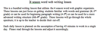 4-season word web writing lesson