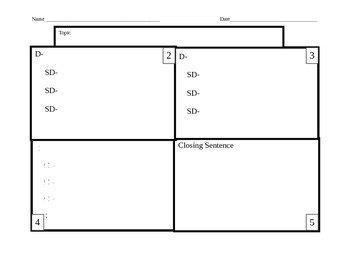4-square Writing Template