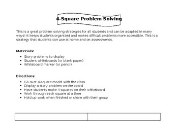 4-Square Problem Solving Strategy