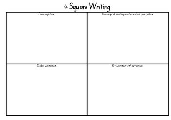 4 square writing - beginning writing skills