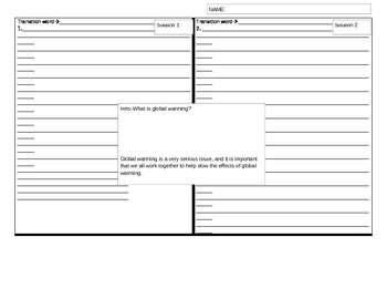 4-square writing graphic organizer--5 paragraph essay--global warming