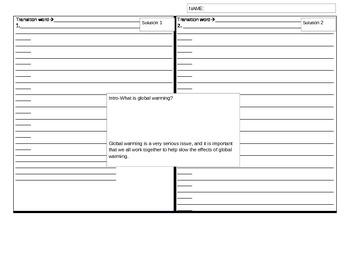4-square writing graphic organizer--5 paragraph essay--glo