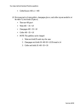 Culinary Math 4 step method handout/Practice question