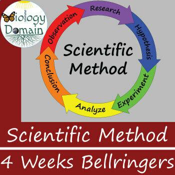 Four weeks of Scientific Method Bellringers Warm Ups
