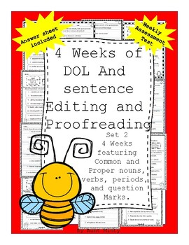 4 weeks of Sentence Labeling, Editing and Proofreading Nouns and Verbs