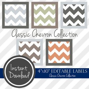 "4"" x 10"" EDITABLE PRINTABLE Labels - Classic Chevron Collection"