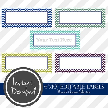"4"" x 10"" EDITABLE PRINTABLE Labels - Peacock Chevron Collection"