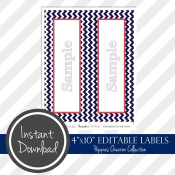 "4"" x 10"" EDITABLE PRINTABLE Labels - Poppies Chevron Collection"