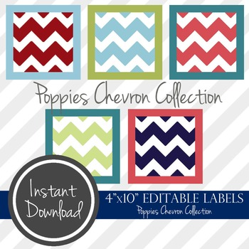 """4"""" x 10"""" EDITABLE PRINTABLE Labels - Poppies Chevron Collection"""