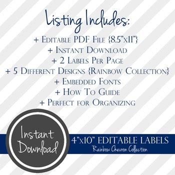 "4"" x 10"" EDITABLE PRINTABLE Labels - Rainbow Chevron Collection"