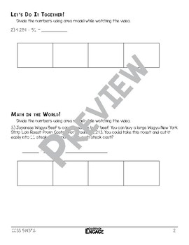 4 x 2 Digit Division Using Area Model Math Video and Worksheet