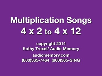 """4 x 2 to 4 x 12 mp4 Video from """"Multiplication Songs"""" by K"""