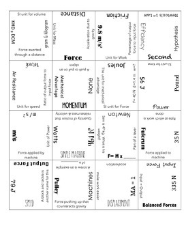 4 x 4 Review Puzzle:  Work, Power, and Simple Machines