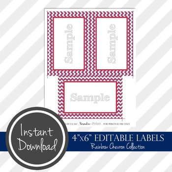 "4"" x 6"" EDITABLE PRINTABLE Labels - Rainbow Chevron Collection"