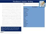 4 x English Writing Literature & Language Starter Activities Wordsearch