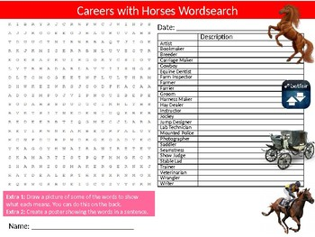 4 x Horses Wordsearch Sheet Starter Activity Keywords Cover Animals Nature