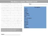 4 x Macbeth Act 2 Starter Activities English Literature Starter Wordsearch etc