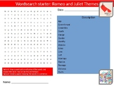 4 x Romeo and Juliet Themes English Literature Starter Activities Wordsearch