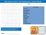 4 x Shakespeare Created Words English Literature Starter Activities Wordsearch
