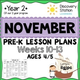 4 year old Preschool NOVEMBER Lesson Plans